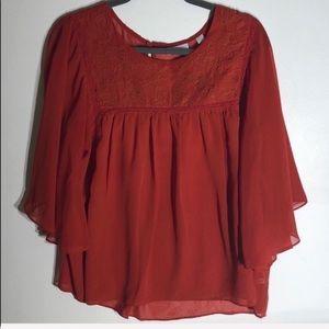 3/$20 NY&Co. Burnt Orange Sheer Shirt